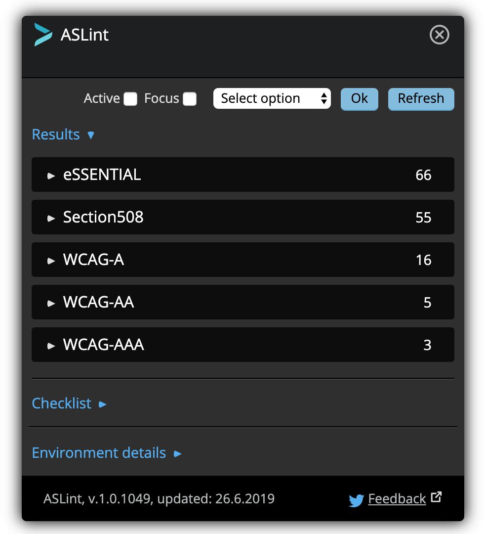 ASLint tool main view